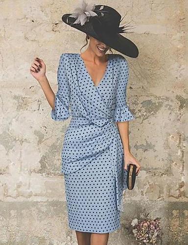 cheap Women's Dresses-Women's Vintage Flare Sleeve Sheath Dress - Polka Dot Pleated Print V Neck Blue Black XL XXL XXXL