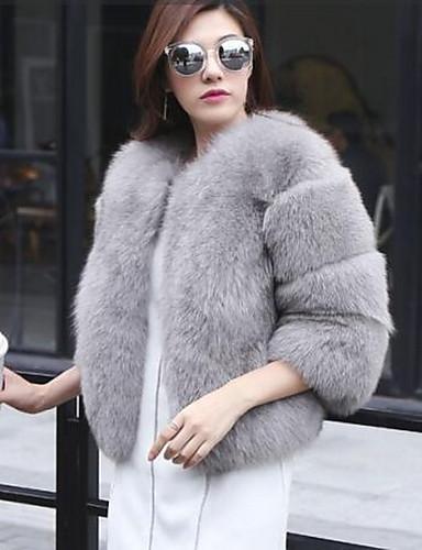 ebe7de0742a18 Mujer Diario Básico Otoño invierno Corto Abrigo de piel sintética