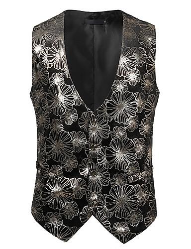 abordables Manteaux & Vestes Femme-Femme gilet, Fleur Col en V Polyester Dorée / Argent L / XL / XXL