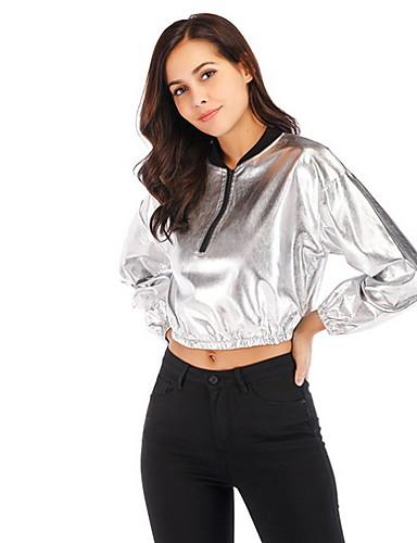 billige Ytterklær til damer-Dame Daglig Kort Jakke, Ensfarget Med hette Langermet Polyester Sølv