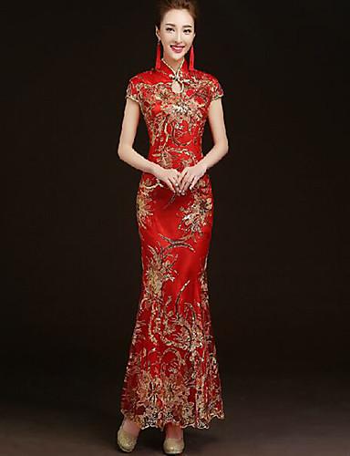 levne Etnické a kulturní Kostýmy-Dospělé Dámské Navrženo v Číně Čínský styl Voskovaná Cheongsam Pro Výkon Zásnuby Štando Bavlna Long Length Cheongsam