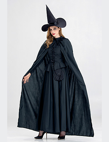 82c0f6a6e56 Witch Dress Cosplay Costume Hat Cloak Adults  Women s Dresses Halloween  Halloween Carnival Masquerade Festival   Holiday Polyster Black Carnival  Costumes ...