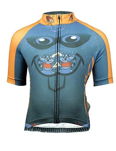 cheap Cycling Clothing-ILPALADINO Boys' Girls' Short Sleeve Cycling Jersey - Dark Grey Cartoon Bike Jersey Top Breathable Sweat-wicking Sports Terylene Lycra Mountain Bike MTB Road Bike Cycling Clothing Apparel / Kid's