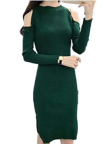 566f525ede4 Women s Basic Elegant Bodycon Sweater Dress - Solid Colored Split Black  Wine Royal Blue One-Size