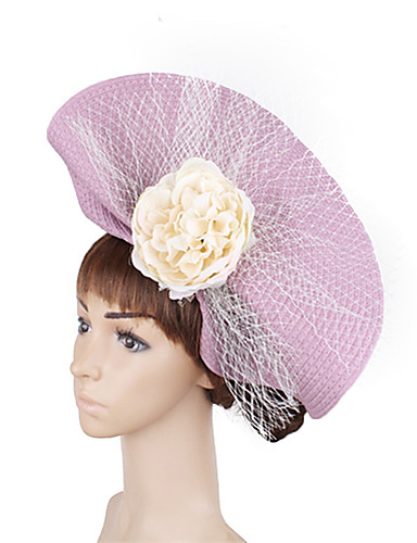 billige Hatte & Imponeringer-polyester / Nett Kentucky Derby Hat / fascinators / blomster med Blomst 1 Deler Bryllup / Fest / aften Hodeplagg