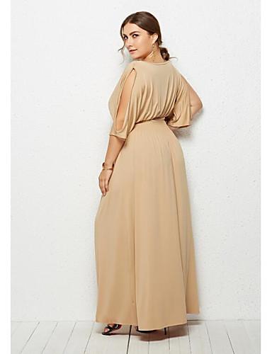 voordelige Grote maten jurken-Dames Standaard Street chic Schede Jurk - Effen Maxi