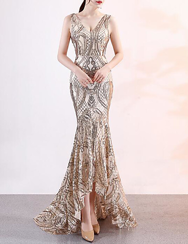 ab28816b608 Mermaid   Trumpet V Neck Court Train Sequined Vintage Inspired Formal  Evening Dress with Sequin   Crystals   Embroidery by LAN TING Express  7175492 2019 – ...