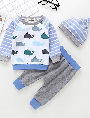 Baby Gutt Aktiv / Grunnleggende Trykt mønster Trykt mønster Langermet Normal Bomull Tøysett Lyseblå
