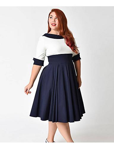 fa265b022bb1 Γυναικεία Μεγάλα Μεγέθη Βασικό Θήκη Φόρεμα - Μονόχρωμο