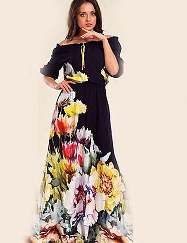 voordelige Maxi-jurken-Dames Standaard Wijd uitlopend Jurk - Bloemen, Print Maxi