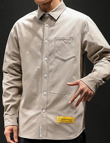 Enfärgad Skjorta Herr Svart XXXL