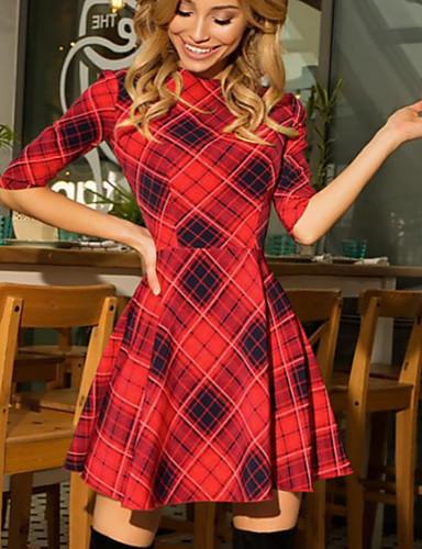 abordables Robes Femme-Femme Mi-long Trapèze Robe Tartan Rouge Gris Foncé Jaune L XL XXL Demi Manches