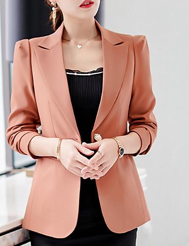 abordables Manteaux & Vestes Femme-Femme Blazer Revers Cranté Coton / Polyester Noir / Bleu Roi / Marron / Mince