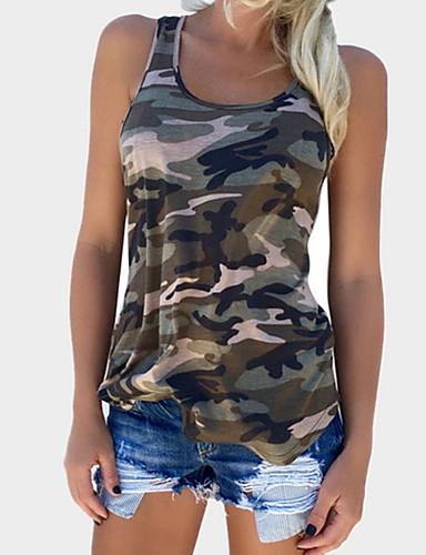 billige Dametopper-Bomull Med stropper T-skjorte Dame - Kamuflasje Grå