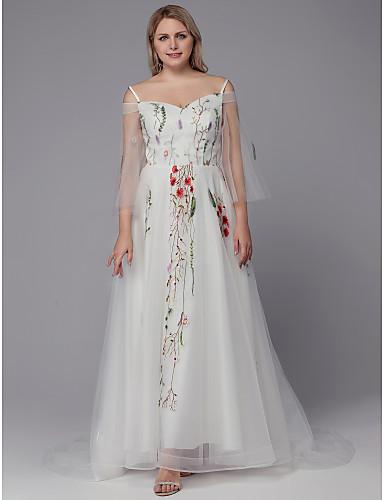 levne Svatební šaty-A-Linie Špagetová ramínka Dlouhá vlečka Tyl Svatební šaty vyrobené na míru s Aplikace / Výšivka podle LAN TING BRIDE® / Krásná záda