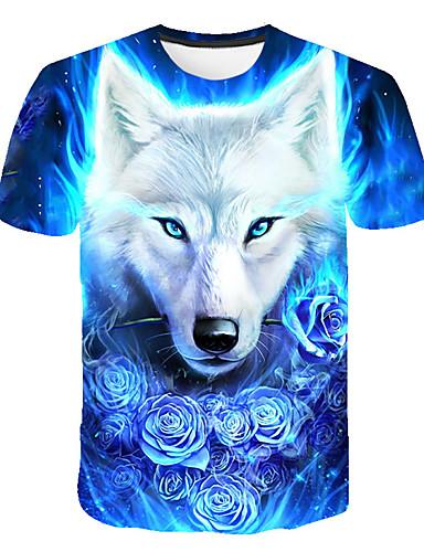 voordelige Heren T-shirts & tanktops-Heren Standaard / Street chic Print T-shirt Club 3D / dier Ronde hals Wolf blauw / Korte mouw
