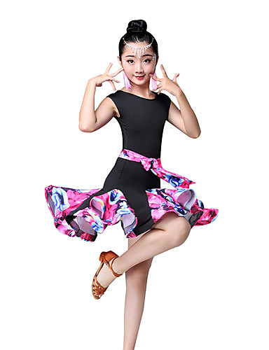 0bd926dba3456 Latin Dance / Kids' Dancewear Dresses Girls' Performance Nylon Pattern /  Print / Ruching / Split Joint Sleeveless High Dress