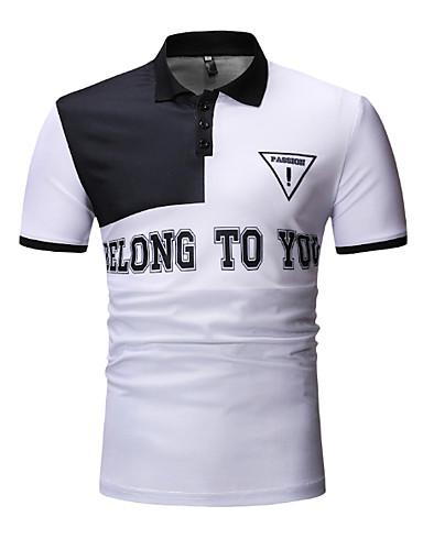 voordelige Herenpolo's-Heren Polo Katoen Kleurenblok Overhemdkraag Wit