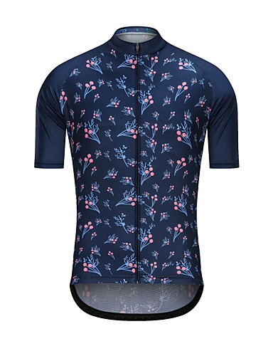 cheap Cycling Clothing-Men's Short Sleeve Cycling Jersey - Dark Navy Floral Botanical Bike Jersey Top Sports Terylene Clothing Apparel / High Elasticity