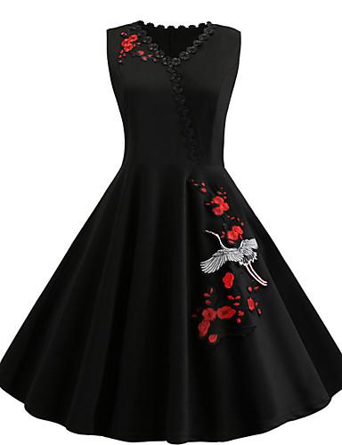 21376583a45 Women s Basic Sheath Little Black Dress - Solid Colored Floral Animal  Patchwork Embroidered Black XXL XXXL XXXXL