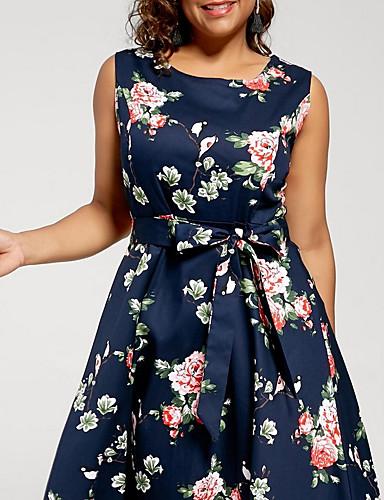 cheap Women's Dresses-Women's Swing Dress Blue