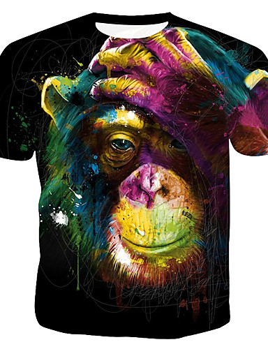 voordelige Herenbovenkleding-Heren Print T-shirt 3D / Regenboog / dier Regenboog