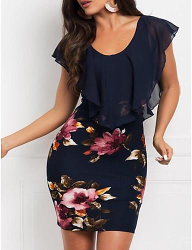 저렴한 미니 드레스-여성용 우아함 슬림 칼집 드레스 - 플로럴, 꽃 쉬폰 프린트 미니