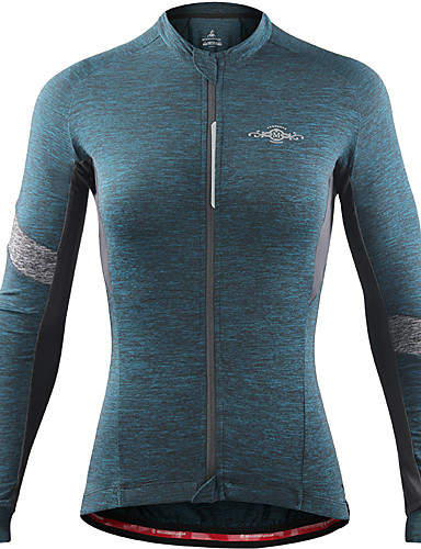 cheap Cycling Clothing-Women's Long Sleeve Cycling Jersey - Gray+Green Sky Blue+White Wine Red Bike Jersey Top Breathable Sports Winter Spandex Clothing Apparel / Stretchy / Breathable Armpits