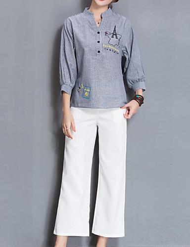 Mulheres Camisa Social Patchwork / Bordado, Listrado