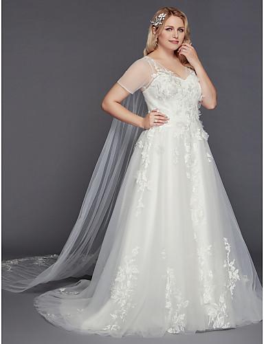 billige Bryllupskjoler 2019-A-linje Gulvlang Tyll Made-To-Measure Brudekjoler med Appliqué av LAN TING BRIDE®