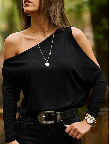 povoljno Ženske majice-Majica Žene Jednobojni Na jedno rame Širok kroj Crn