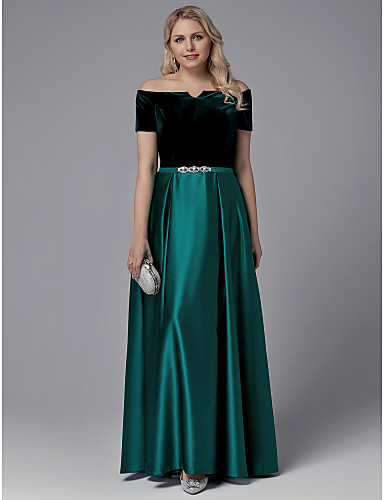 96261295715 cheap Evening Dresses-Plus Size A-Line Off Shoulder Floor Length Satin    Velvet