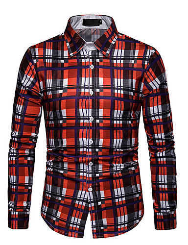 Men's Cotton Shirt - Plaid Red XL