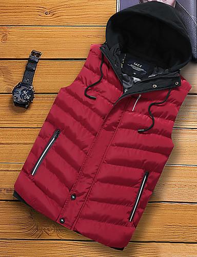 voordelige Heren donsjassen & parka's-Heren Dagelijks Standaard Effen Normaal Vest, Polyester Mouwloos Winter Capuchon Rood / Grijs / Khaki XXL / XXXL / XXXXL