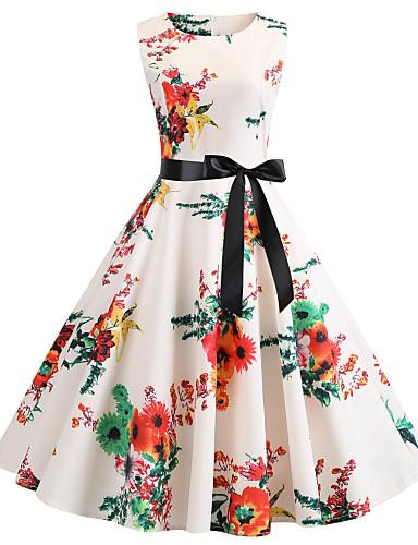 b1e82718e5 Per donna Vintage Swing Vestito - Con fiocco Con stampe, Fantasia floreale  Medio