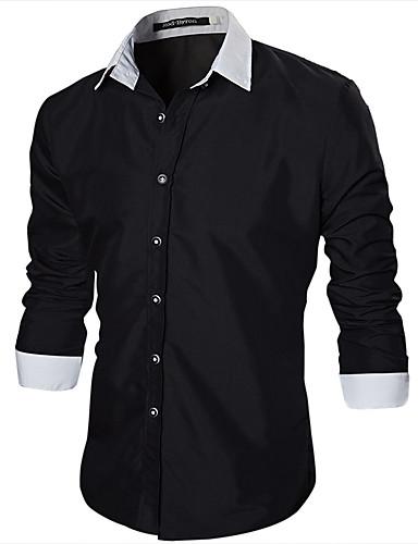 254686a16ae4e رجالي قطن قميص نحيل ياقة كلاسيكية لون سادة   ألوان متناوبة أسود L