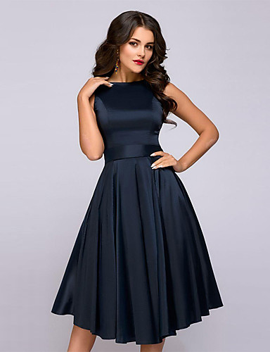 d4c7aa8b8961 Per donna Essenziale Elegante Linea A Vestito Tinta unita Al ginocchio