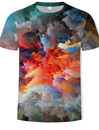 dfa59f752c50 Ανδρικά T-shirt Βαμβάκι Συνδυασμός Χρωμάτων   3D Στρογγυλή Λαιμόκοψη Στάμπα  Ουράνιο Τόξο XL