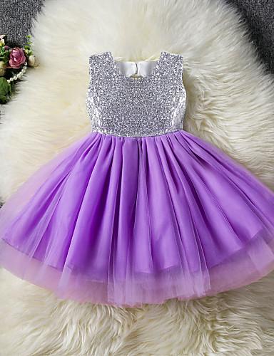 Prenses Taşlı Yaka Midi Polyester / Tül / Payetli Fiyonk / Kemer / Ayrık Renkler ile Çiçekçi Kız Elbisesi tarafından LAN TING Express
