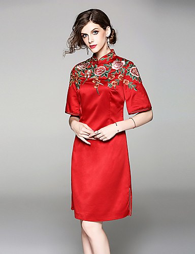 b86b1d506f9 Adults  Women s Chinese Style Wasp-Waisted Dress Chinese Style Cheongsam  Qipao For Engagement Party Bridal Shower Polyester   Linen Blend Polyster  Knee ...