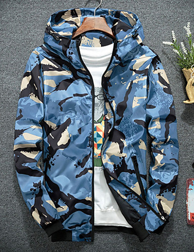 cheap Men's Jackets & Coats-Men's Sports / Going out Military Spring &  Fall Regular Jacket, Camo / Camouflage Tropical Leaf Hooded Long Sleeve Polyester Orange / Red / Army Green XXL / XXXL / XXXXL