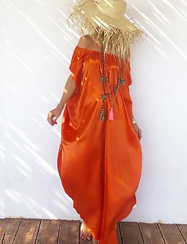voordelige Maxi-jurken-Dames Wijd uitlopend Jurk Schouderafhangend Maxi