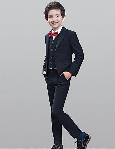 povoljno Odijela za malog djevera-Crn Polester / Cotton Blend Odijelo za malog djevera - 1set Uključuje Kaput / Mellény / Shirt