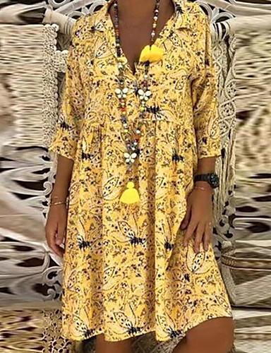 billige Kjoler-Dame Ferie Strand Løstsittende Oversized A-linje Løstsittende Skiftet Kjole Blomster Trykt mønster Skjortekrage Midi