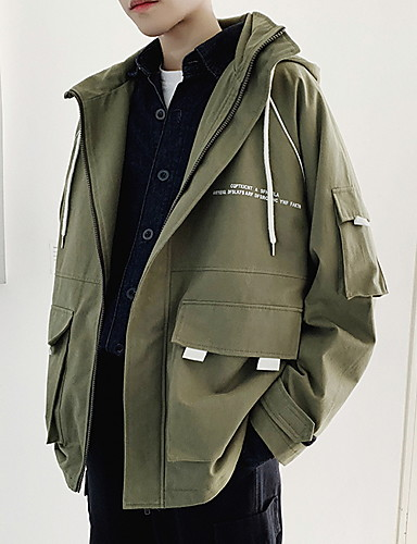 391e6395f2a55 Men's Daily Fall Regular Jacket, Solid Colored Hooded Long Sleeve Polyester  Black / Army Green M / L / XL
