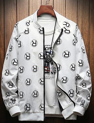 2019 Nuovo Stile Per Uomo Quotidiano Essenziale Autunno Standard Giubbino, Alfabetico Collo Manica Lunga Poliestere Con Stampe Bianco - Nero - Rosso Xxxl - Xxxxl - Xxxxxl #07187897
