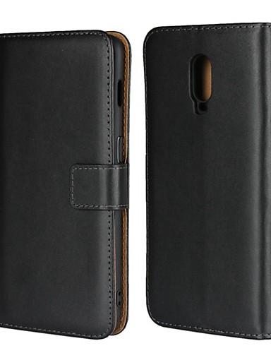 Etui Käyttötarkoitus OnePlus OnePlus 6 / One Plus 6T / One Plus 5 Lomapkko / Korttikotelo / Tuella Suojakuori Yhtenäinen Kova aitoa nahkaa
