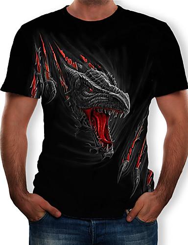 voordelige Uitverkoop-Heren Print T-shirt 3D / dier / Cartoon Ronde hals Zwart
