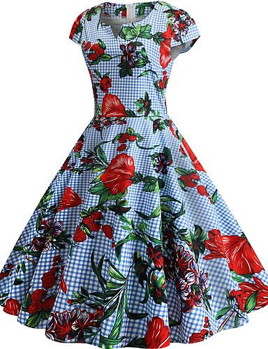 voordelige Maxi-jurken-Dames Standaard Wijd uitlopend Jurk - Geometrisch, Print Maxi