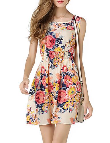 abordables Robes Femme-Femme Elégant Mini Mousseline de Soie Robe - Imprimé, Fleur Géométrique Rose Claire Marine Jaune L XL XXL Sans Manches